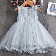 Kids Girl Ball Gown Dress NEW Grey Toddler Girl Summer Lace Dress 2-7Year Princess Birthday Party Dress Children Clothing gorgeous children girls black grey birthday celebration evening party flower princess lace dress kids model catwalk host dress
