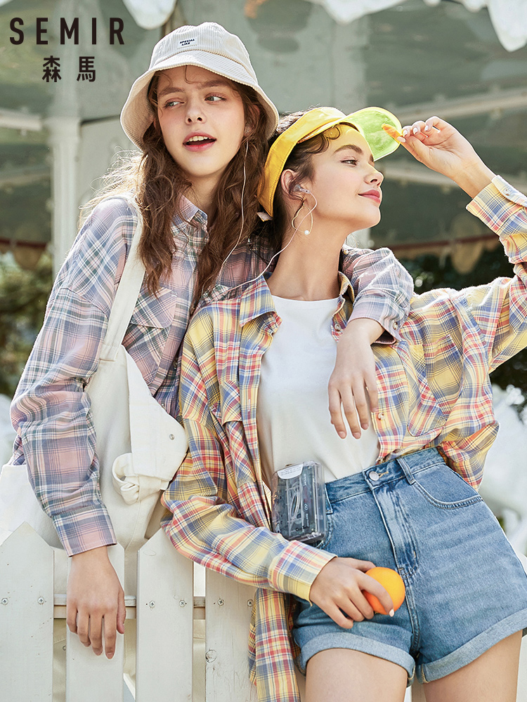 SEMIR Plaid Shirt Women 2020 Spring New Chic Western Style Design Long Sleeve Shirt Loose Cotton Shirt