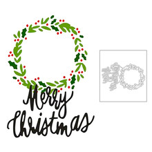 2020 New Round Wreath Embossing and Words Merry Christmas Metal Cutting Dies For DIY Making Greeting Card Scrapbooking No Stamps(China)