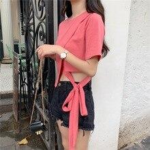 T shirt Women Summer Tee Tops Short Sleeve 2019 New Fashion Sexy Bandage Solid Top Irregular Lace Up Shirt