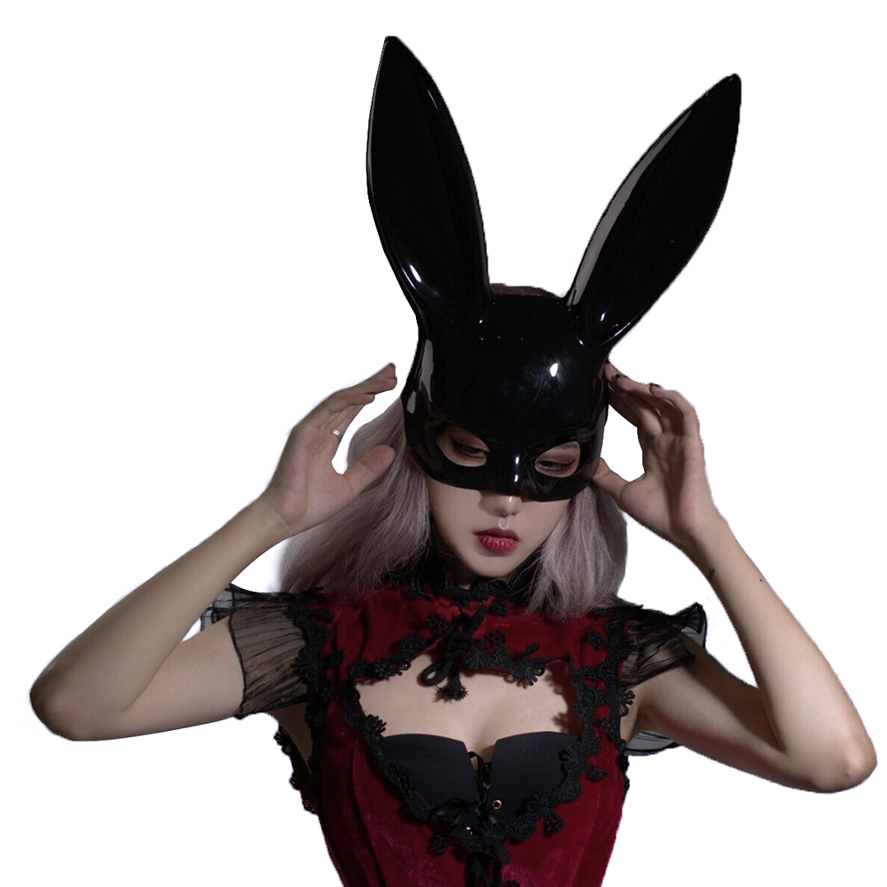 Black Punk COS Masquerade Bunny Ears Mask Bunny Mask Halloween Bunny Mask Party