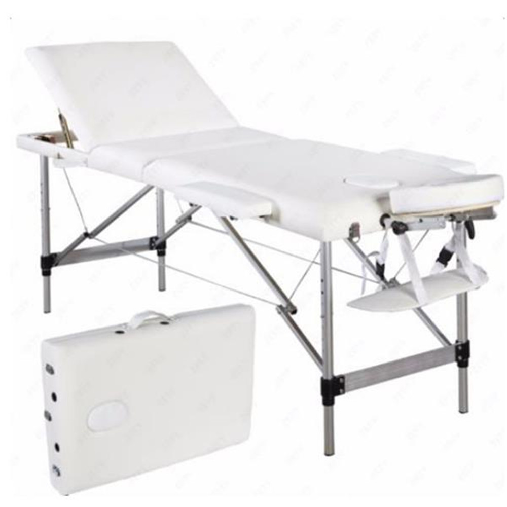 3 Sections Folding Aluminum Tube SPA Bodybuilding Massage Table Kit White Massage Bed