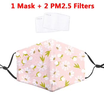 Fashion Flower 3D Printed Masks Face Fabric PM2.5 Filter Adult Reusable Mouth Cover Dust Washable Masks Proof bacterial Flu Mask