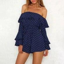 Сексуальный без бретелек мини платье женщины темно-синий синий горошек принт вечеринка халат лепесток длинный рукав лето пляж платья мода 2021 новинка