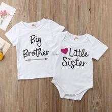 От 0 до 5 лет, комбинезон для новорожденных, маленьких сестер, боди, хлопковая футболка, футболка, летние модные повседневные топы с надписью, комбинезон
