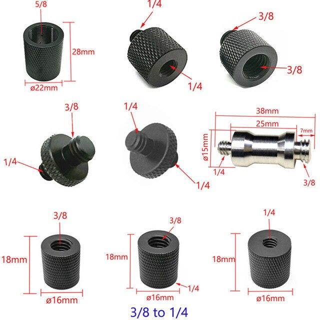 """10 pces 1/4 """"a 3/8"""" 5/8 """"a 1/4"""" macho para rosca fêmea parafuso adaptador de montagem placa tripé parafuso montagem para câmera slr"""
