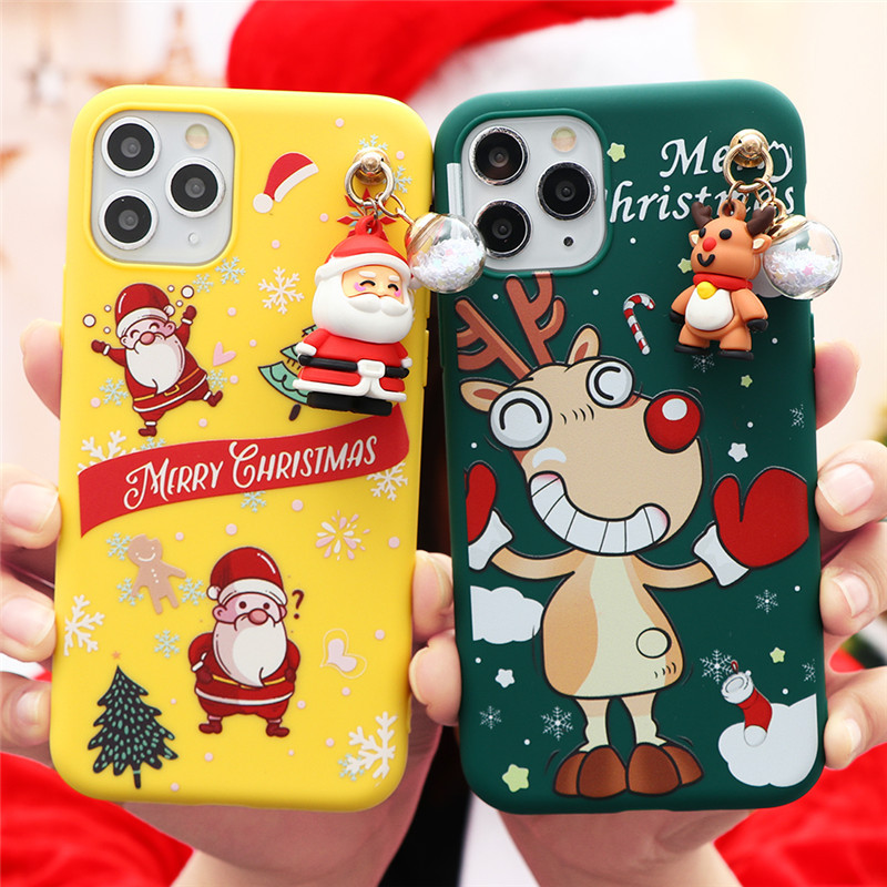 3D Doll Cartoon Christmas Santa Reindeer Tree Gift Case For iPhone 12 Pro Max