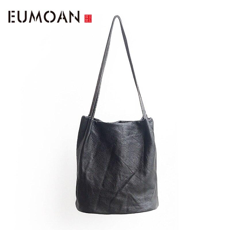 Eumoan 새로운 오리지널 핸드 메이드 가죽 핸드백 간단한 레저 수입 첫 번째 레이어 양피 숄더 백-에서탑 핸드백부터 수화물 & 가방 의  그룹 1