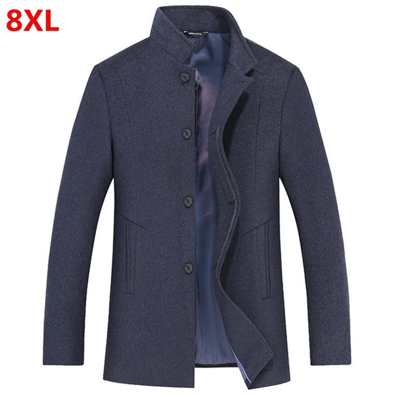 Autumn and winter big size woolen coat men's stand collar loose plus size 8XL 7XL 6XL 5XL woolen coat jacket men's shirt tide