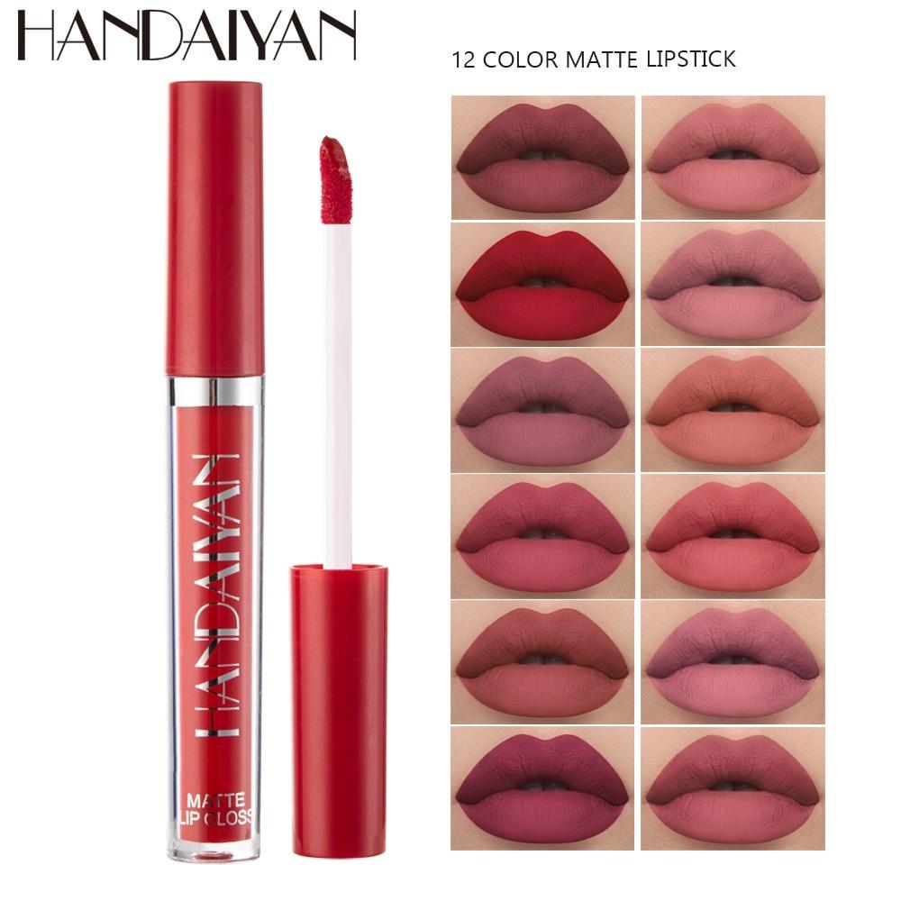 Matte Lipstick Waterproof Red Velvet Lip Stick Makeup Pigment Long Lasting Lip Gloss Tint Matte Lipgloss Tube Cosmetics