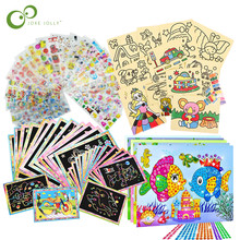 26Pcs Children Drawing Toys Set Scratch Painting Sand Painting Diamond Stickers Educational Learning Drawing Toys for Kids GYH