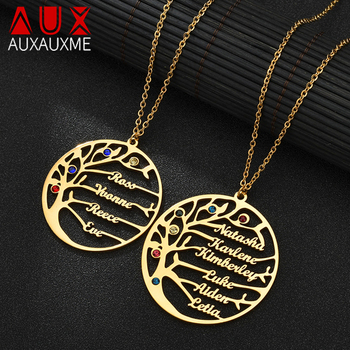 Auxauxme Personalized Tree Of Life Custom Name Necklace Stainless Steel Golden Family Women Letter Christmas Gift