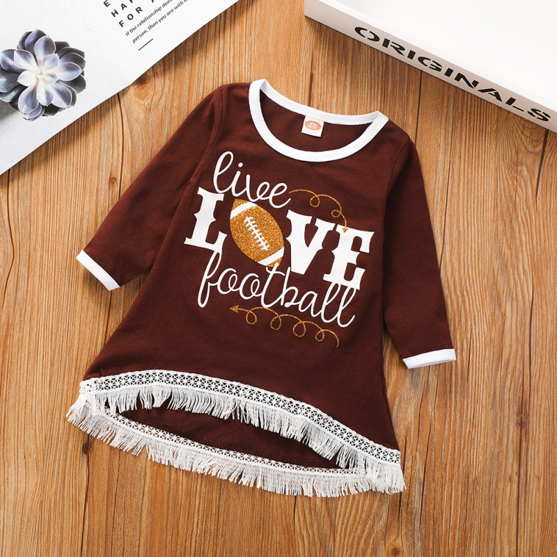 Kid <font><b>Baby</b></font> Girls Fashion T-<font><b>Shirt</b></font> <font><b>Long</b></font> <font><b>Sleeved</b></font> Cotton Tassel Letter Print Round Neck <font><b>Shirt</b></font> 0-18M image