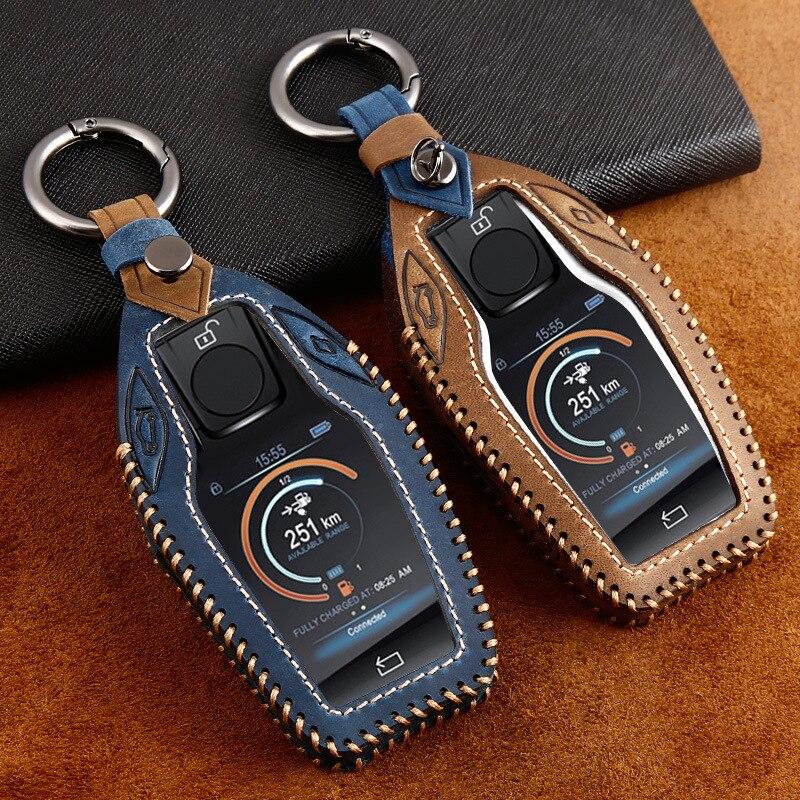 Чехол для автомобильного ключа из натуральной кожи со светодиодным дисплеем для BMW 5 7 series G11 G12 G30 G31 G32 i8 I12 I15 G01 X3 G02 X4 G05
