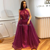 Purple Lace Pearls Formal Evening Dresses 2019 Dubai Couture Islamic Prom Dress Evening Gowns Muslim Turkish Arabic Party Gowns