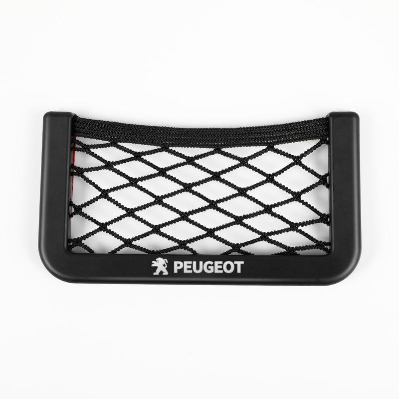 Red de Almacenamiento de coche bolsa de teléfono del bolsillo organizador para Peugeot 206, 207, 307, 3008, 2008, 308, 408, 508, 301, 208