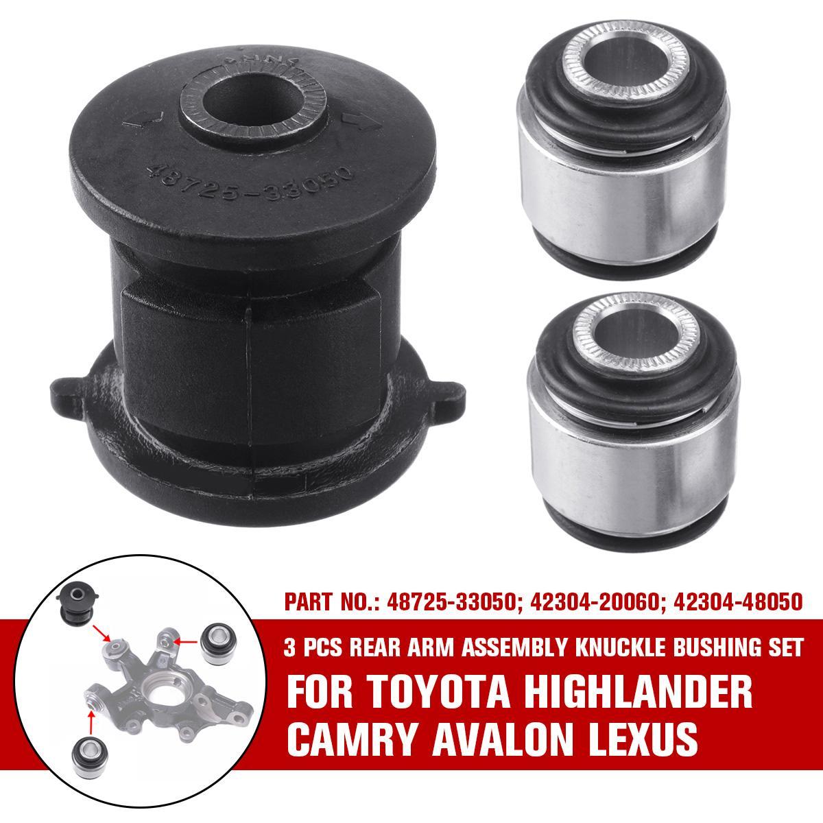 3Pcs Rear Arm Assembly Knuckle Bushing Fits Toyota Highlander Camry Lexus