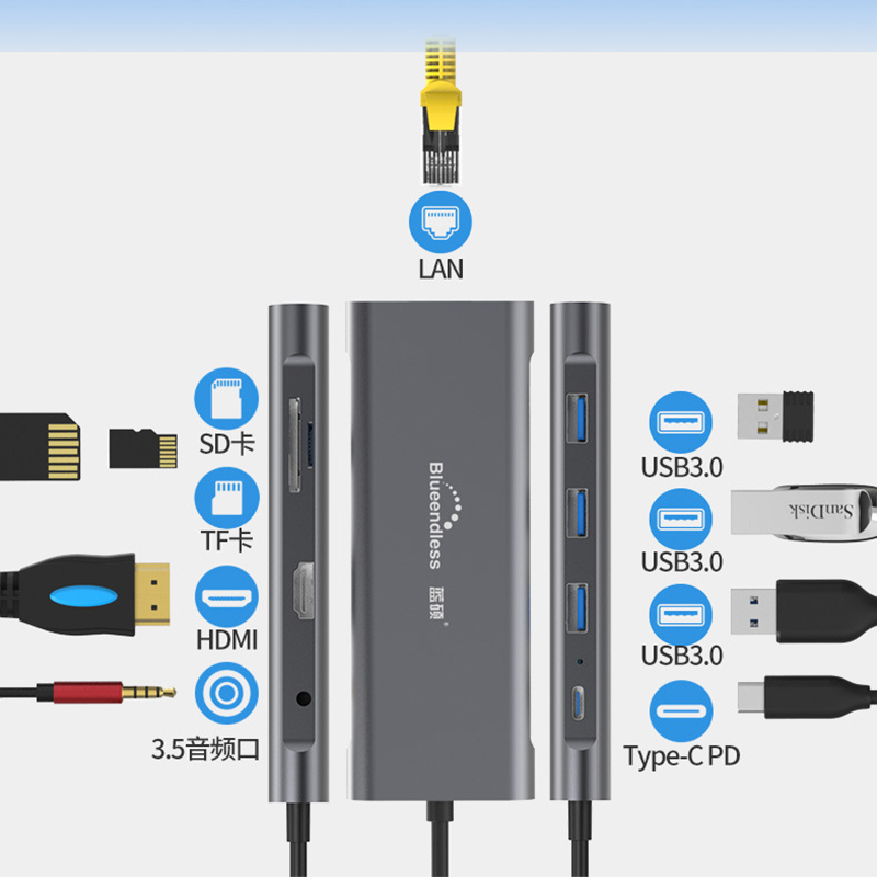 9-en-1 type-c dock d'expansion 4K HDMI PD usb3.0 convertisseur hub multifonction