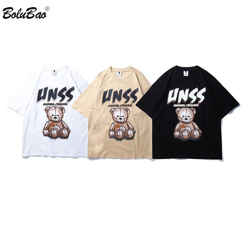 BOLUBAO Men's Brand Trend T Shirt Summer High Quality Men Cartoon Bear Printing Street Wild Male 100% Cotton T Shirts