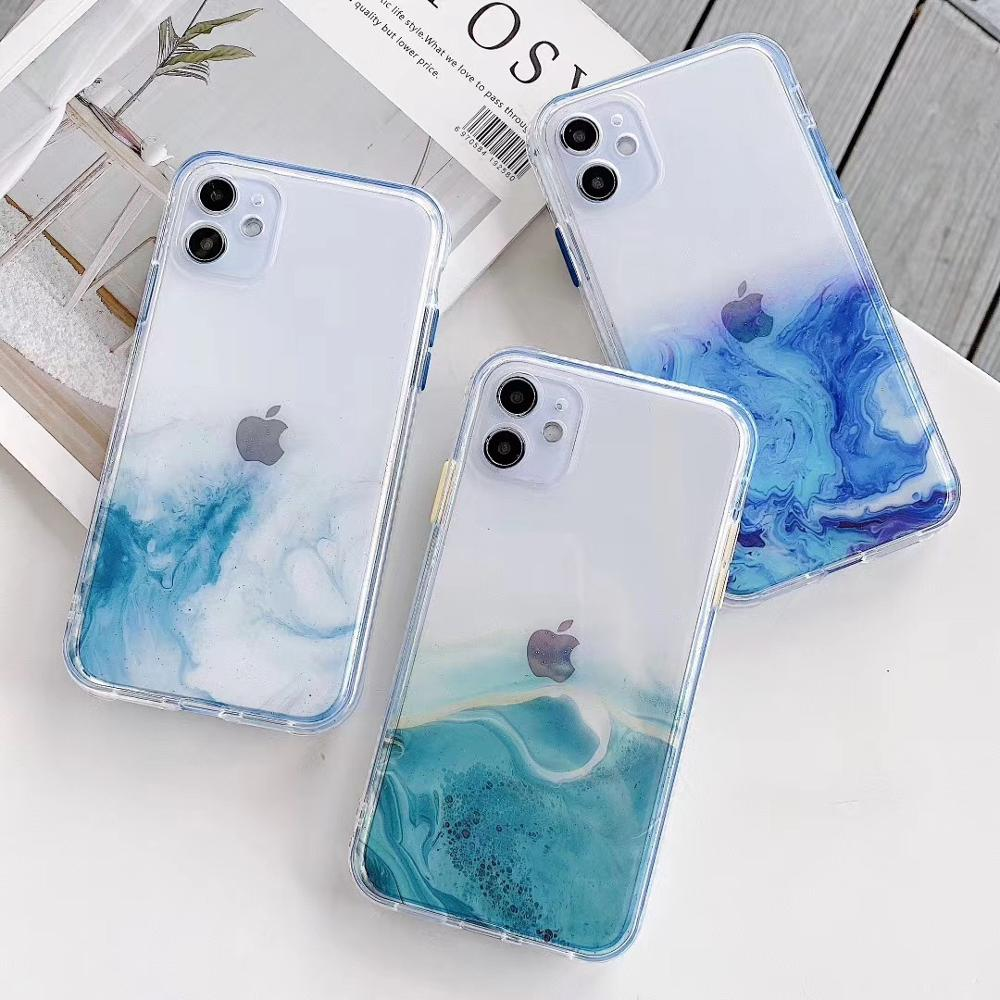 Luxury Marble Gradient Phone Case For iPhone 11 Pro Max 7 8 Plus X XR XS Max SE2020 Glitter Transparent Back Cover Coque
