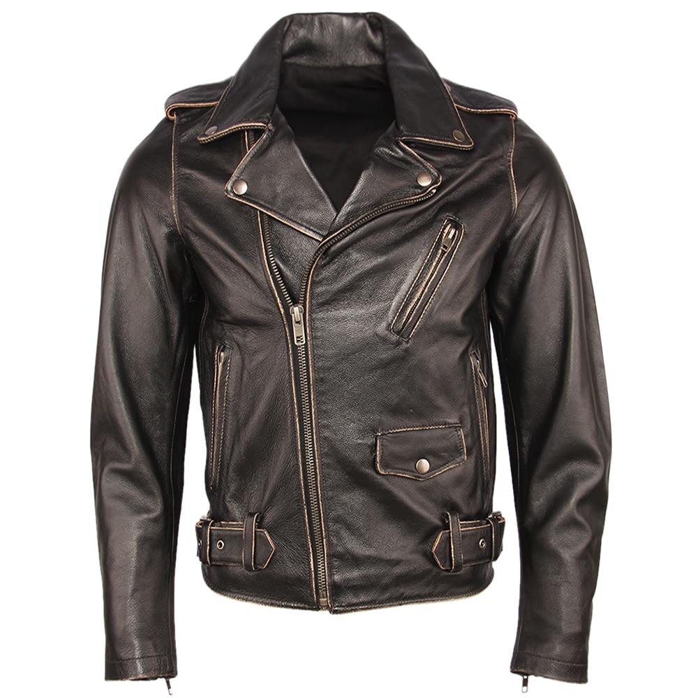 Hca65fd638934486ab127814edcb06854N Vintage Motorcycle Jacket Men Leather Jackets Thick 100% Cowhide Genuine Leather Coat Winter Biker Jacket Moto Clothing M456