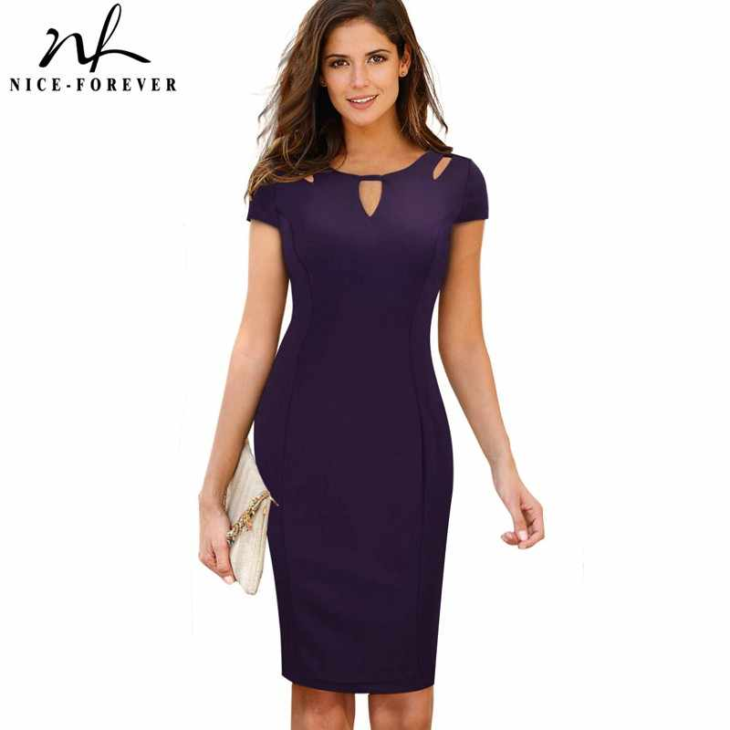 Nice-Forever Vrouwen Zomer Terug Rits Hollow Out Elegante Vestidos Business Office Lady Bodycon Potlood Jurk G593
