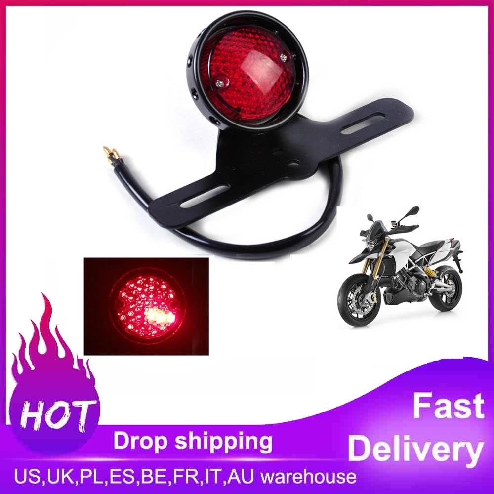 Motorcycle Accessories Retro Red Rear Tail Brake Stop Light Lamp License Plate Mount For Harley Honda Suzuki Chopper Bobber