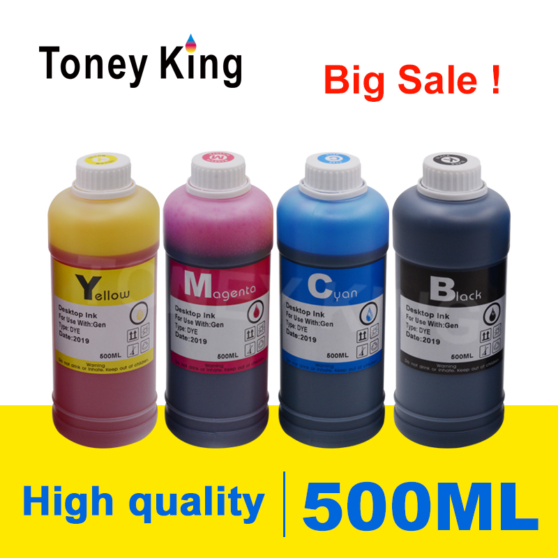 Toney King 500ml Bottle Printer Dye Ink <font><b>Refill</b></font> <font><b>Kits</b></font> For <font><b>HP</b></font> 123 122 121 302 304 300 650 <font><b>652</b></font> 21 22 140 141 901 350 XL Cartridges image