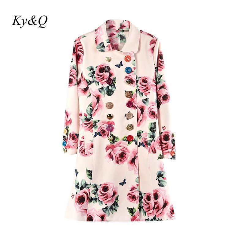 Бренд, подиумная женская зимняя куртка с принтом, роскошные стразы, пряжка, роза, ветровка с отворотом, Элегантное Длинное Пальто 2020, одежда