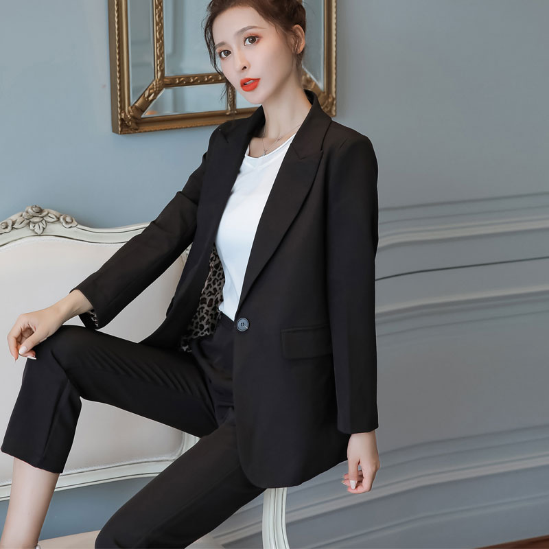 Women Black Pant Suits 2020 Autumn New Loose Long-sleeved Suit + Nine Points Harem Pants Two-piece Suits Ankle Length Trousers