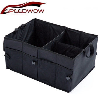 SPEEDWOW Car Storage Box Multifunction Folding Container Case Large Capacity Car Trunk Bag Auto Interior Storage Organizer Black black car auto interior plastic coin case storage box holder container organizer