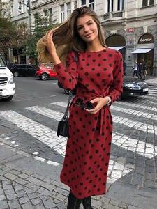 Dress Femme Retro Elegant Office Lady Women Vintage Robe Spring Midi-Dot Sashes M0379