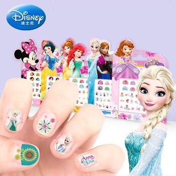 Genuine 5 pcs Girls Frozen 2 Elsa Anna Nail Stickers Makeup Toys Cartoon Disney Sofia Princess Minnie Kids Pretend Play