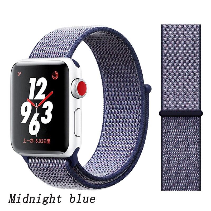 Спортивная петля ремешок apple watch band 42 мм 38 мм apple watch 4 3 band iwatch band 44 мм 40 мм correa pulseira 42 44 нейлоновый ремешок для часов - Цвет ремешка: deeple blue
