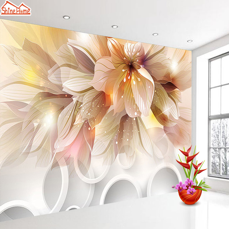 Wallpapers for Living Room Glitter Flower 3d Photo Nature Wallpaper Vinyl Wall Paper Papers Home Decor
