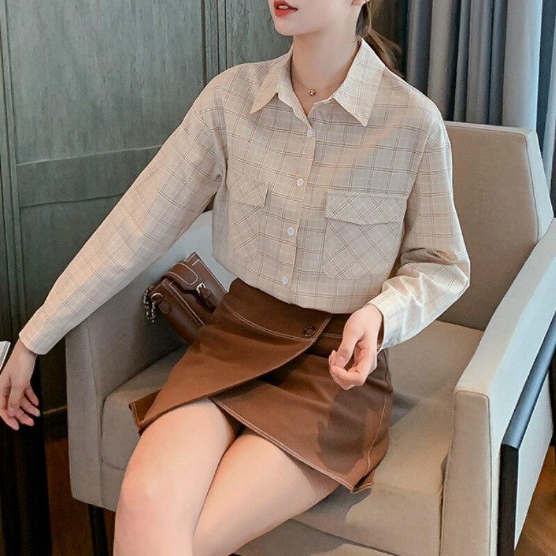 New 2020 Elegant Office Fashion Spring Blouse Women Plus Size Shirt Plaid Long Sleeve Shirts Blouses Female Top Lady Work Tops