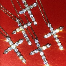 Silver Color Round Cut White Zircon Cross Necklace Pendant Hip Hop Bling Bling Zircon Iced Out Chain Necklace for Men Women trendy cut out bar noctilucent necklace for women