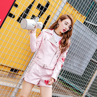 High Quality Leather Jacket Set Women Rivets Sequins Embroidery Punk Leather Shorts + Long Sleeve Zip Coat Fashion 2 Piece Set