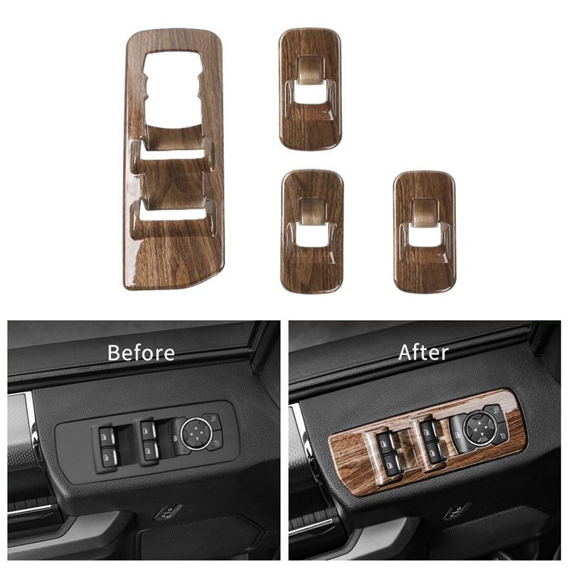 Car Window Lift Switch Panel Decoration Frame Cover Trim For 2015 2016 2017 2018 Ford F150 Accessories