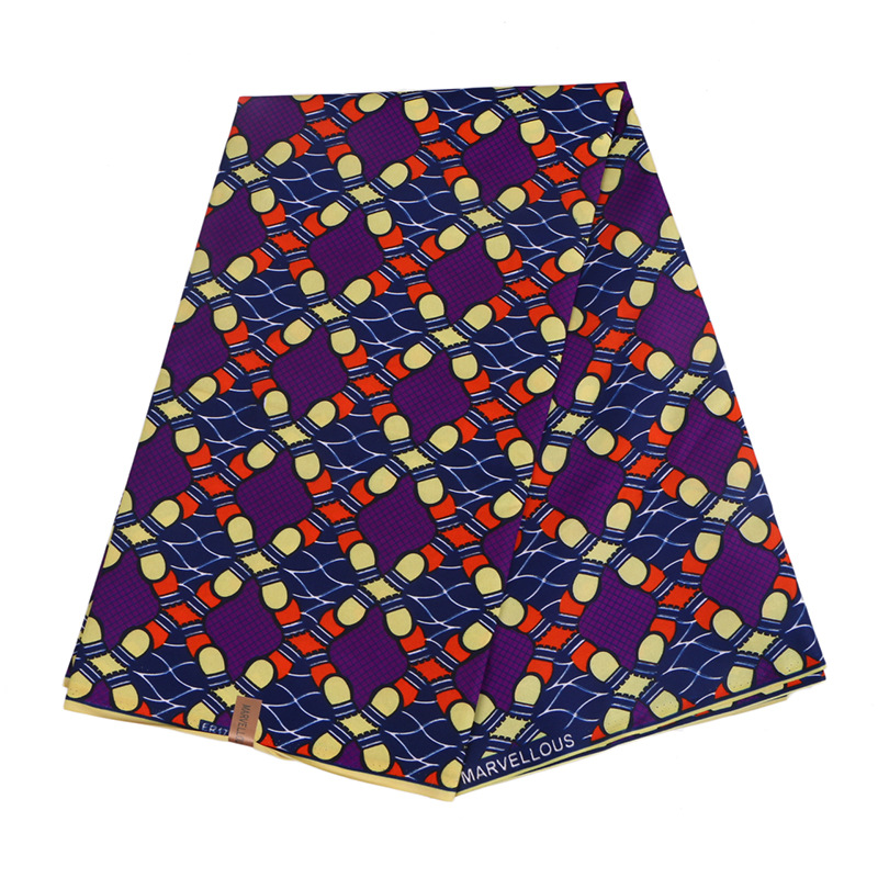 Wholesale 6 Yards African Wax Polyester Wax Fabric Geometric Patterns Prints Pure Polyester Breathable African Ankara Wax Fabric