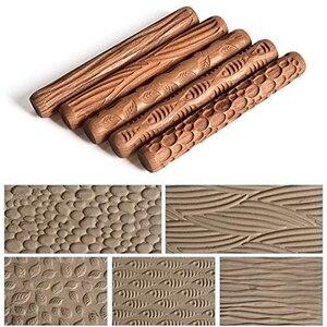 Image 4 - 5 rolos de mão de madeira das ferramentas da cerâmica dos pces para o rolo do teste padrão da argila do selo da argila