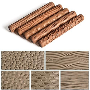 Image 4 - 5PCS Pottery Tools Wood Hand Rollers for Clay Clay Stamp Clay Pattern Roller