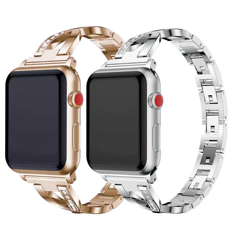 Cinturini per Orologi Delle Donne Della Vigilanza Della Fascia per Apple 38 Mm/42 Mm/40 Mm/44 Mm Del Diamante in Acciaio cinturino in Acciaio per Iwatch Serie 4 3 2 1 Braccialetto