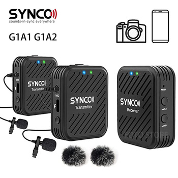 SYNCO G1 G1A1 G1A2 Wireless Microphone System 2.4GHz Interview Lavalier Lapel Mic Receiver Kit for Phones DSLR Tablet camcorder 1