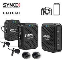 Synco g1 g1a1 g1a2 sistema de microfone sem fio 2.4ghz entrevista lapela lapela microfone kit receptor para telefones dslr tablet filmadora