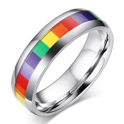Радужное ЛГБТ кольцо из нержавеющей стали обручальное кольцо Lebian геев кольца для женщин мужчин оптовая продажа ювелирных изделий