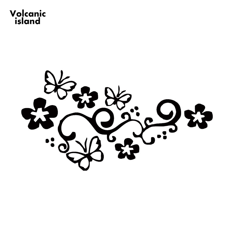 22cm X 13cm Car Sticker Butterfly Flower Vinyl Car Graphics Window Sticker Decal Decoration Car Styling Black/White