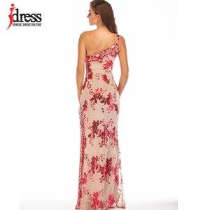 Image 2 - IDress Bölünmüş Parlak Elbiseler Zemin Pullu Bir Omuz uzun elbise için Kadın Vestidos Verano 2019 Mujer Yüksek Yarık Elbiseler
