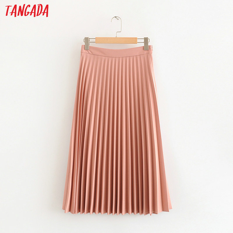 Tangada Women Pink Pleated Midi Skirt Faldas Mujer Vintage Side Zipper Office Ladies Elegant Chic Mid Calf Skirts HY124