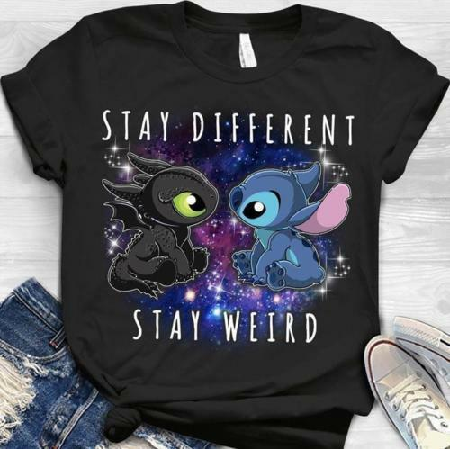 Stitch And Toothless Stay Different Stay Weird T Shirt Black Cotton Men S-6XLCartoon T Shirt Men Unisex New Fashion